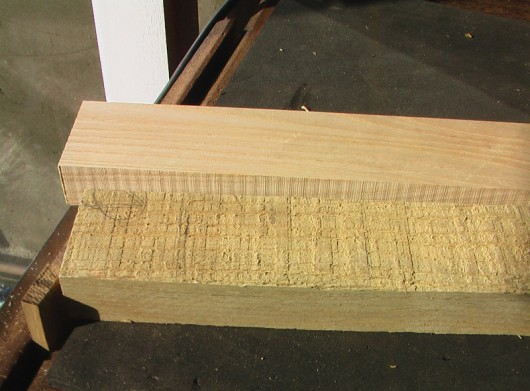 Original rough sawn, my bandsaw rip cut, and planed.