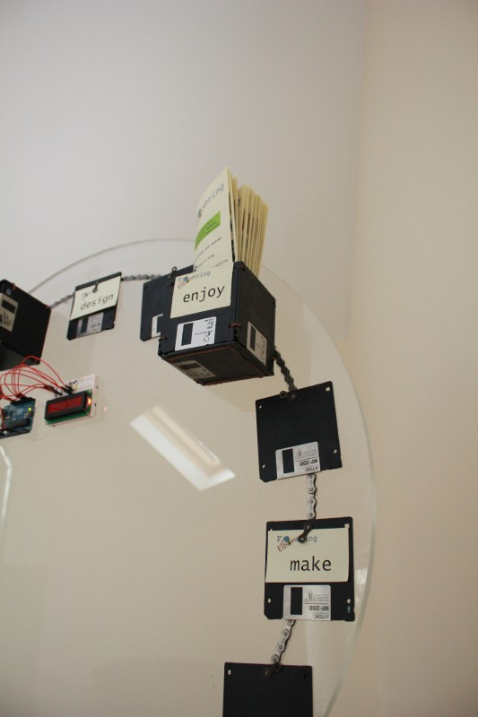 One of our rotating display boards, with old floppies and bike chain