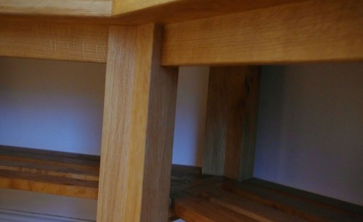 The underside of the washstand. The centre leg mortices into the top, and the angled under-rails mortice into the leg.