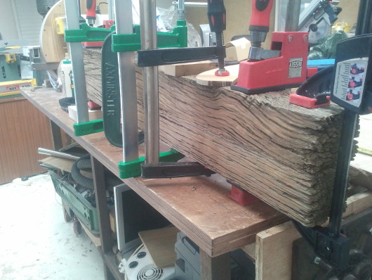 Headboard post glue up